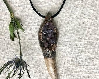 Amethyst Crystal Antler Necklace - W360
