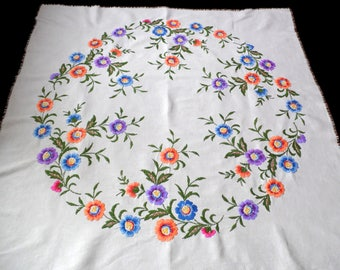 Vintage linen square tablecloth with floral embroidery embroidered table cloth with colorful flowers 50s