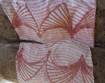 2 Pieces Vintage Pink Chenille Fabric