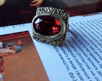 Square Ring Crystal Ring Boho Ring Adjustable Ring Statement Ring Unusual Ring Bohemian Ring Artistic Ring Unique Ring Dramatic Ring