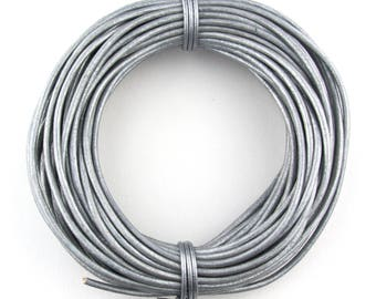 Gray Metallic  Round Leather Cord 2mm 50 meters (54 yards)