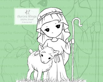 PNG Digital Stamp - Little Shepherd - Christmas Digi - Whimsical Holiday Line Art for Cards & Crafts by Mitzi Sato-Wiuff