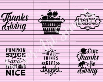 Thanksgiving cookie stencils Fall words set of 6  SL20190