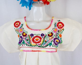 Frida Style Mexican Hand Embroidered Peasant Blouse 100% Cotton/Manta -Puebla-BOHO-Hippie-Summer
