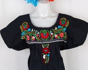 Frida Style Colorful Mexican Dress with Embroidered Flowers- Black- Summer-BOHO-Hippie- Frida Kahlo style- Handmade Dress- Kaftan- Floral