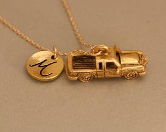 Truck necklace with gold filled chain , truck jewelry, truck pendant, car necklace, pickup necklace, personalized jewelry