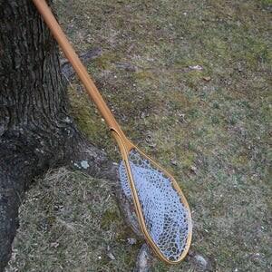 Wooden fishing net etsy for Long handle fishing net