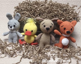 Stuffed toys crochet toys small animals newborn photo props crochet bunny puppy duck fox newborn photo props easter props