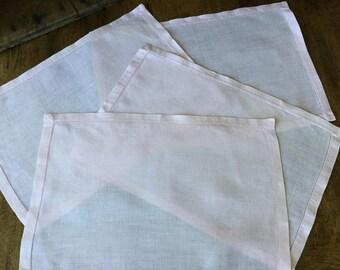 """Pink linen place mats, vintage, hemstitch, rectangular, 11 1/2"""" X 17 1/2"""""""