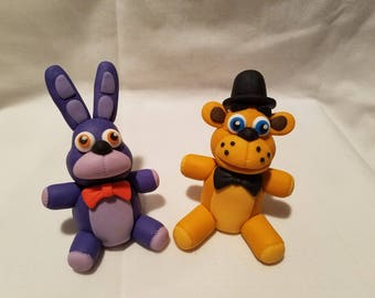 """3D  Five Nights at Freddy's  Fondant toppers. Freddy Fazbear and Bonnie  4"""" tall"""