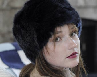 Dark blue fur hat faux fur