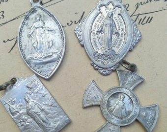 Large lot 4pcs French antique religious medal bronze silver aluminium N D de lourde Virgin mary Jesus sacred heart crucifix cross reliquary