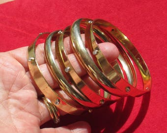 Lot Of Retro Metal & Rhinestone Bangle Bracelets