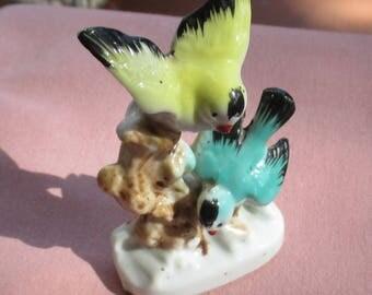 Vintage Yellow Blue Birds Figurine Japan Chips TLC