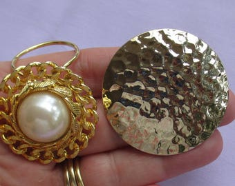 Lot Of Vintage Scarf Clips Faux Pearl Hammered Look