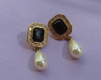 Vintage Teardrop Iridescent Faux Pearl Black Clear Rhinestone Pierced Earrings Marked Roman Loose Post Repair Repurpose