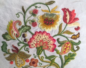 Bright and beautiful Crewel Embroidery on Linen