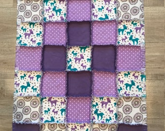 Flannel baby quilt, Flannel baby blanket, Purple & blue green nursery, Baby shower, Polka dots, Baby crib bedding, deer;10% of PP to charity