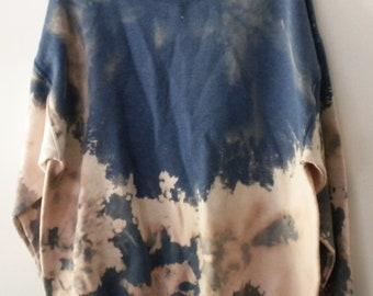 Acid wash blue Sweatshirt, tie dye Crewneck Sweatshirt, Dip Dye sweatshirt, blue, Pink, Gray, Boho, Grunge Sweatshirt, Rocker, Retro