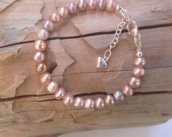Baby Bracelet, Girls Bracelet,  Pink Freshwater Pearls, Sterling silver, Heart charm, Flower Girl, Newborn Gift, Bridesmade Bracelet