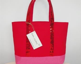 Tote red bibbed shipping fresh glitter