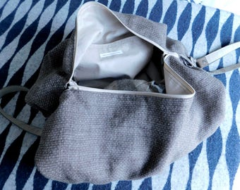 Drip bag _ in linen _ handmade _ leather strap