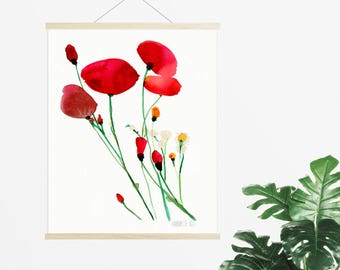 Red poppies wall art. Poppies illustration. Red wild flowers painting. Floral poster. Watercolor poppies art print. Abstract flower art.