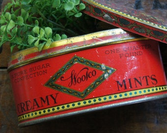Art Deco Woolco Creamy Mints Candy Tin ~ F. W. Woolworth Co. ~ Small Vintage Oval Tin