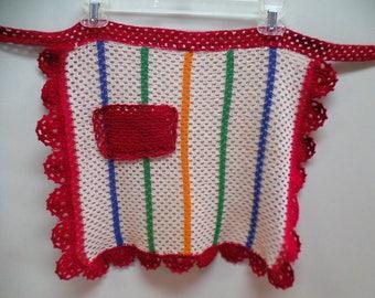 Crocheted apron vintage apron vintage half apron retro apron womens apron women crochet aprons pocket apron whimsical farmhouse handmade