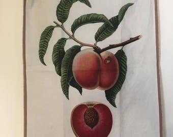 Vintage Peach Botanical Print Tea Towel