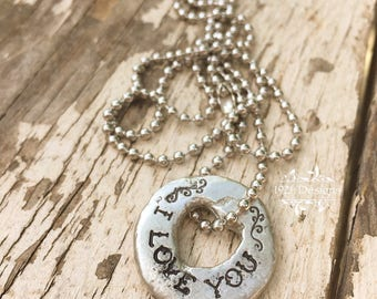 I love you - hand stamped pewter necklace
