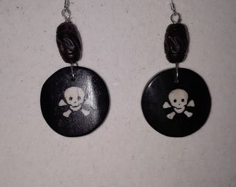 Bone skull earrings