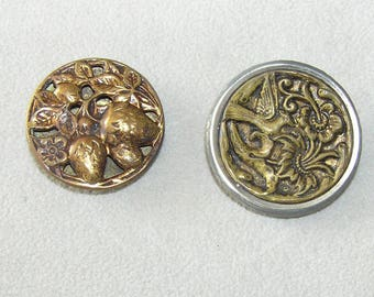 Two Large Brass Metallic Victorian/Antique Picture Buttons