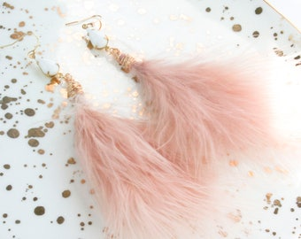 Feather Earrings, Blush Feather Earrings, Blush Earrings, Bridal Earrings, Bridesmaid Earrings, The Petite Plume Feather Earrings