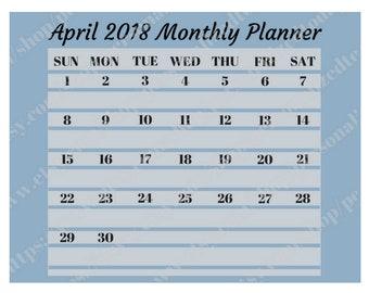 April 2018 Monthly Calendar Digital Printable File JPG PDF Blue Lines Minimal Basic Month At A Glance Landscape Wide April Calendar Month