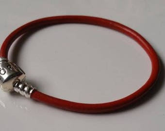 Red Smooth Leather Pandora Bracelet