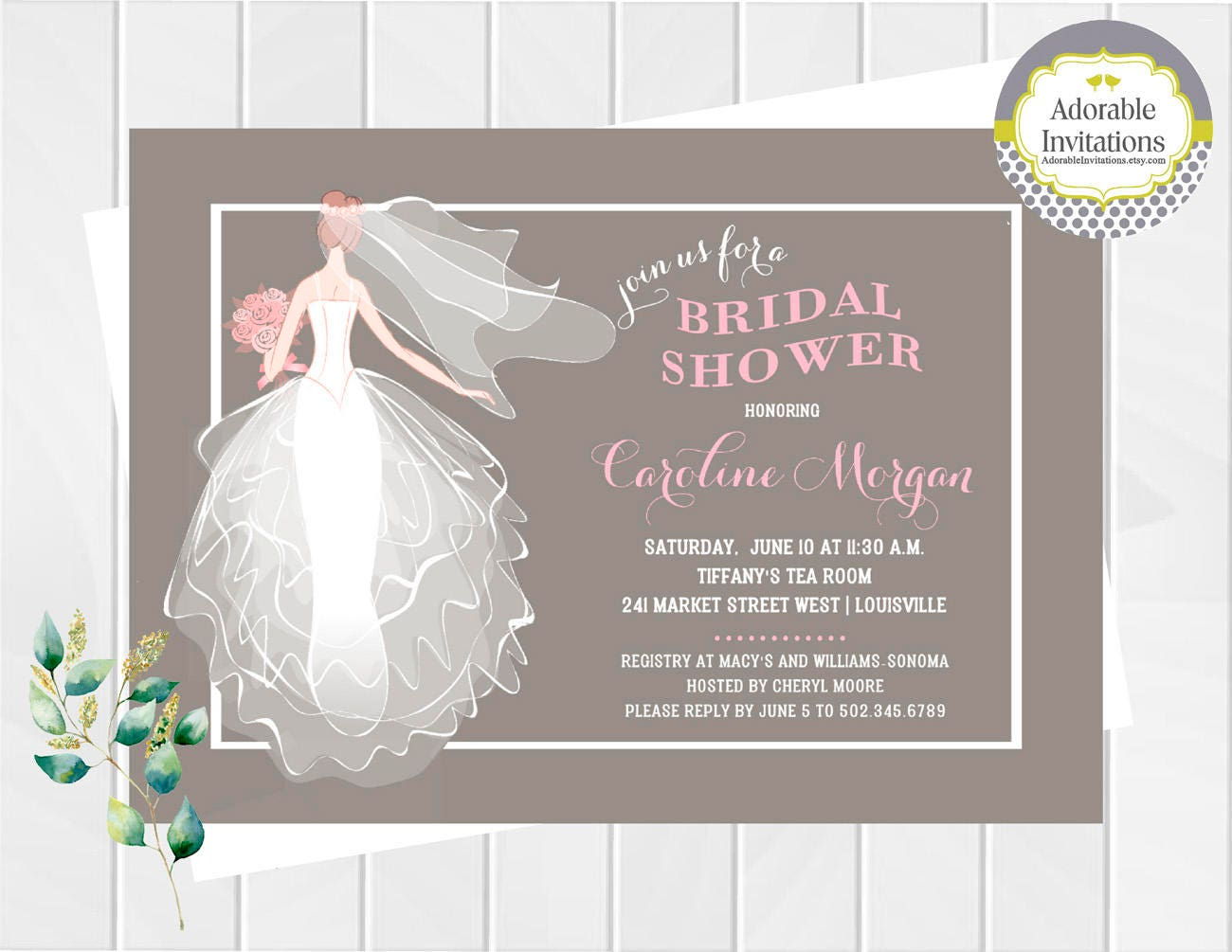 Wedding dress bridal shower invitation bridesmaids luncheon for Wedding dress bridal shower invitations