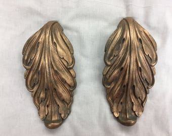 Brass Acanthus Leaf Pulls Large Pair Hardware Cabinet