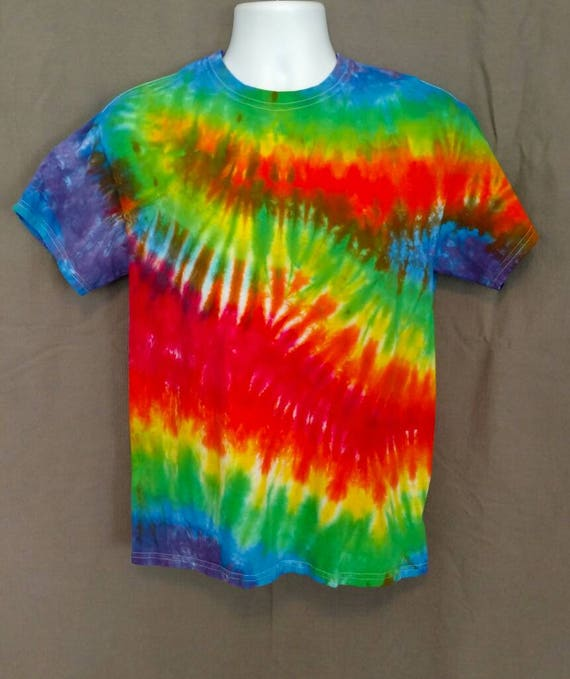 Hand Dyed Tie Dye T-Shirt/Adult T-Shirt/Rainbow Design/ Short Sleeve/Unisex/Eco-Friendly Dying