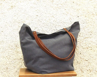 Large bag Tote, tote bag, tote bag or shopping grey washed linen, brown leather handles.