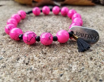 Hot Pink Journey Charm Bracelet With Tassel