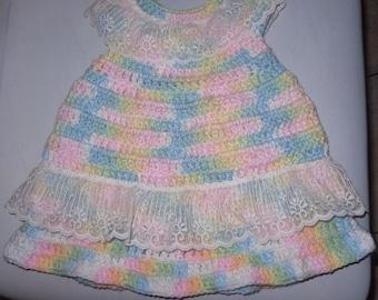 Newborn Infant Preemie Doll Handmade Crotchet Dress OOAK  Variegated Pastels & Lace