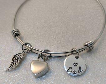 Urn Bracelet, Personalized Urn Jewelry,  Sympathy Gift, Loss of Family, Heart Urn, Angel Wing Bracelet, Memorial Bracelet, Urn for Ashes