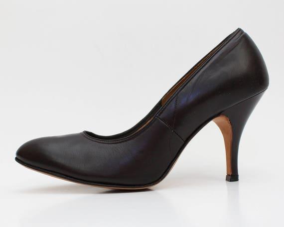 Brown Leather Pumps - Deadstock Fashion Craft Size 8 Stilettos - Vintage Almond Toe High Heels