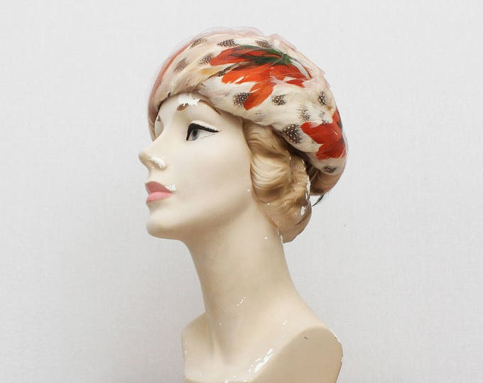 Vintage 1950s Fall Feather Hat