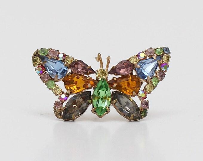 Vintage 1950s Rhinestone Butterfly Brooch