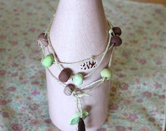 Clay hanging decor light green and chocolate brown