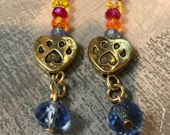 Rainbow bridge pet memorial earrings brass and crystals