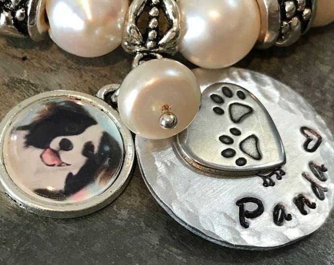 Rainbow bridge pet memorial bracelet- fresh water pearls, picture charm