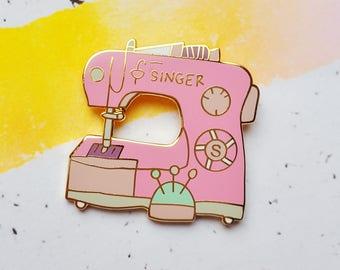 Pink Sewing Machine enamel pin